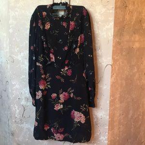 ZARA- fall print dress with sheer lace bk detail-M
